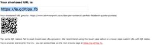 qr code generatore per il non profit is.gd
